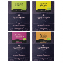 Pack saving organic infusions of Green Tea Ginger Lemon, Mint, Vanilla Orange, Rooibos relax digest.